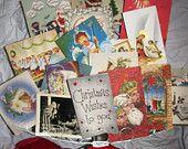 Vintage Christmas Greeting Cards, Christmas Scrapbooking, Collage, Mixed Media, X-Mas 20 cards, Nostalgic Christian Artwork Lot C5