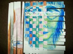 You can use multiple pages if you like, not just two. I had some black and white strips from another one I did that work great here. So this has actually three paintings in the weave.