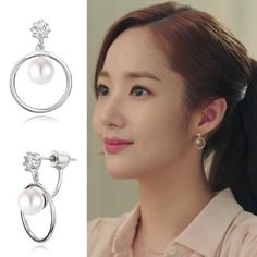 Beautiful Stonehenge jewelry earrings from What's Wrong with Secretary Kim on Ebay (affiliate). Worn by park Min Young.  Shop your favorite Kdramas!  #WhatsWrongWithSecretaryKim #WhySecretaryKim #affiliate #kdrama #ParkMinyoung #kdramajewelry Jewelry Kpop, Korean Jewelry, Korean Earrings, Ear Jewelry, Dainty Jewelry, Cute Jewelry, Jewellery, Korean Accessories, Jewelry Accessories