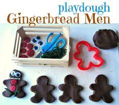 Make gingerbread men that are calorie free ! Playdough Gingerbread men for kids.