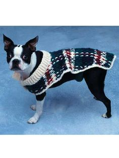 Doggie Duds - Woven Plaid  Fits toy-size, small, medium +large dogs. Crocheted using sport and WW yarns. Skill Level: Intermediate  Designed by Kathleen Power Johnson  free pdf from freepatterns.com  How cute is this????