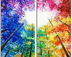 Original Landscape painting Forest skyline Art black n colors on gallery wrap canvas Ready to hang by tim Lam Multi Canvas Painting, Oil Painting Abstract, Multi Canvas Art, Painting Art, Landscape Art, Landscape Paintings, Skyline Art, Art Plastique, Clip Art