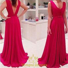 vampal.co.uk Offers High Quality Red Sleeveless Floor Length V Neck Open Back…