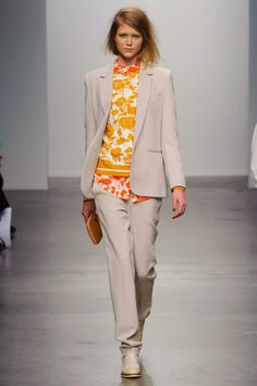 Karen Walker Fall 2013 RTW Collection - Great way to wear a neutral suit.