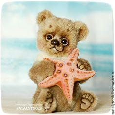Купить Ocean Love. Мишка с морской звездочкой. Коллекционный медведь тедди. - бежевый, мишка тедди