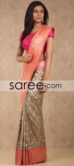 Taupe and Pink Banarasi Silk Saree with Weaving