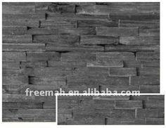 Black slate natural edge stone wall cladding
