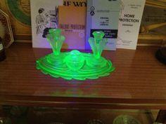 My Uranium glass vanity set under black light.