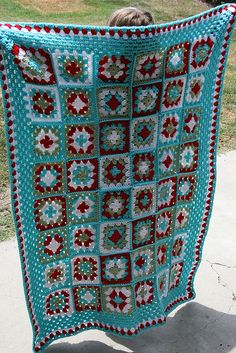Red-Aqua Granny Blanket