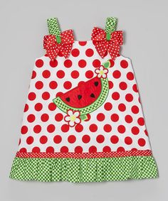 Loving this Red & Green Watermelon Swing Dress - Infant, Toddler & Girls on #zulily! #zulilyfinds