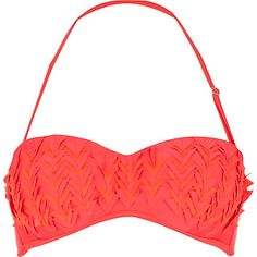 Red triangle cut out balconette bikini top - bikinis - swimwear / beachwear - women