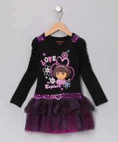 Look at this Dora the Explorer Black 'Love to Explore' Dress on #zulily today!