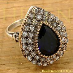 Hürrem Sultan Ring Tear Drop Shape Sapphire by helenfinejewels
