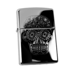 Lighter Sugar Skull Zippo 250 High Polish Chrome by HipFlaskPlus
