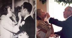 casais que recriaram a mesma foto, o antes e o hoje