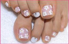 Teen Nail Designs, Toenail Art Designs, Pedicure Designs, Pedicure Nail Art, Toe Nail Art, Nail Art Diy, Pedicure Ideas, Toe Nail Flower Designs, Colorful Nails
