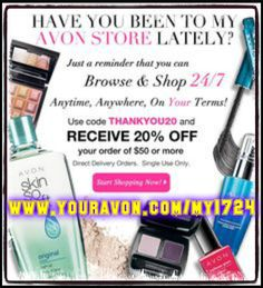Here you will find, Avon Free Shipping, Promo, and Free Gifts Entry. Use these codes anytime you are shopping with me!! Shop online @(www.youravon.com/my1724) or clicking on the pin!! Stay update, stay inform for all your FREE GIFTS and FREE SHIPPING CODES, from Misty the Avon Lady!!