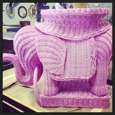 #Lilly Pulitzer Pink #Vintage Wicker #elephant side...   Wicker Blog  wickerparadise.com