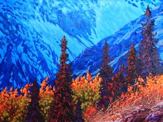 """This new painting from Kluane region of the Yukon Territory is now available at Canada House Gallery in Banff AB.  """" WALL OF PARADISE """" oil on canvas 36"""" x 48"""" #Canada #Yukon #art #painting"""