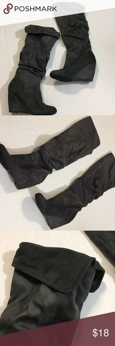 Nine West faux suede knee high wedge boots Nine West faux suede knee high wedge boots great preloved condition with slouched look and option to wear high at knee or fold over super soft and comfy Nine West Shoes Over the Knee Boots