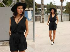 Vintage Hat, Vintage Playsuit, Pointed Toe Boots