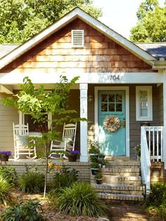 curb appeal with mixed siding, fresh color on the front door and a welcoming front porch! - Aqua doorGreat curb appeal with mixed siding, fresh color on the front door and a welcoming front porch! Cottage Homes, Cottage Style, Cozy Cottage, Cottage Porch, Bungalow Porch, Backyard Cottage, Cozy Cabin, Cottage Ideas, Style At Home