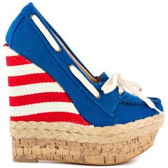 Bekah - #Red and #White #Striped  with #Blue Fabric Penny Loves Kenny #Patriotic #Woman #Wedge #Shoes