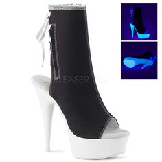 Heel, 1 Platform Open Toe/Heel Back Lace Up Canvas Ankle Boot Featuring Blacklight Reactive Platform Bottom, Full Inside Zip Closure High Heel Stiefel, Medusa Costume, Pinup Couture, Sneaker Heels, Black Canvas, Open Toe, Ankle Boots, High Heels, Lace Up