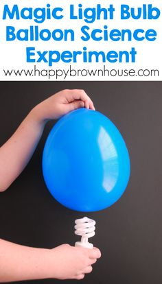 Make a light bulb glow with this simple balloon science experiment for kids. The kids will want to do this balloon STEM activity over and over again. via @happybrownhouse