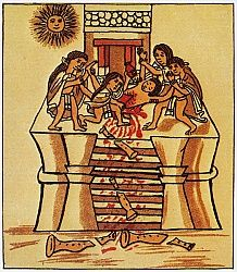 MEXICO: AZTEC SACRIFICE. Priests cutting out the heart of a youth to sacrifice to the sun. Aztec codex, 16th century