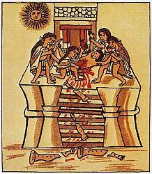 MEXICO: SACRIFICIO AZTECA.  Sacerdotes cortando la cabeza de un joven para sacrificarlo al sol. Aztec codex, 16th century