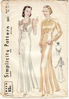 Vintage Sewing Pattern 1930's RARE Ladies' Night Gown by Mrsdepew