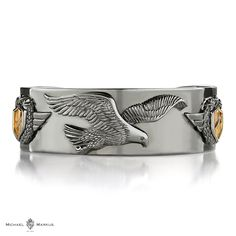 AQUILA The eagle sees no limits and reaches for the sky -  925 sterling silver cuff   18k white and yellow gold elements   black diamond accents   selected black rhodium plating