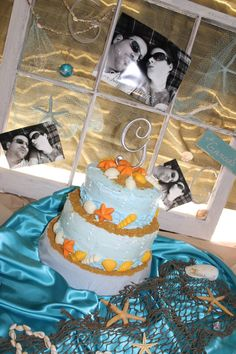 Beach Bridal shower Cake with window frame backdrop from my GF's Bridal shower I threw.