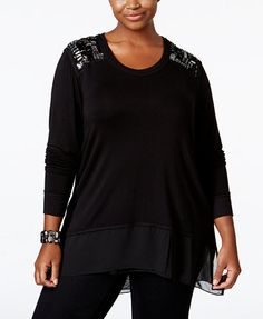 Melissa McCarthy Seven7 Trendy Plus Size Embellished Top | macys.com