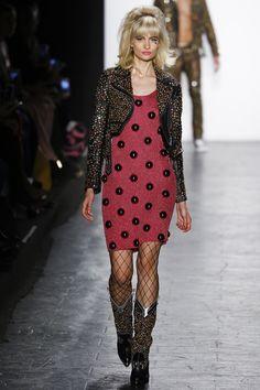 Jeremy Scott   Fall 2016 Ready-to-Wear   40 Black leather studded cropped jacket and red knit mini dress