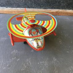 Vintage Tin Toy Space Ship Metal wind-up