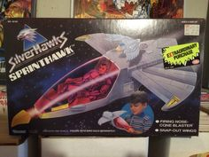 This is the Sprinthawk from the Silverhawks toy series made by Kenner in the 80s! It is also complete in the original box!