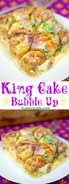 King Cake Bubble Up - Cinnamon rolls, eggs, milk, vanilla and cream cheese. Ready in 30 minutes. Better than any store-bought King Cake we've had! Easy Cake Recipes, Sweet Recipes, Dessert Recipes, Donut Recipes, Jambalaya, Beignets, Pillsbury Cinnamon Rolls, Easy King Cake Recipe Cinnamon Rolls, Breakfast Casserole With Biscuits