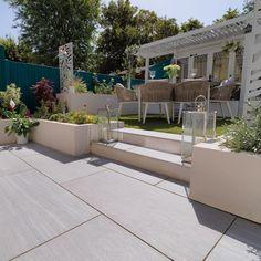 Patio Slabs, Patio Tiles, Outdoor Tiles, Patio Flooring, Concrete Patio, Back Garden Design, My Patio Design, Balcony Design, House Design