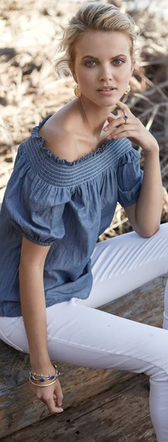 Show off sun-kissed skin with a smocked off-the-shoulder top in lightweight #chambray sweetened with puffed-up sleeves.