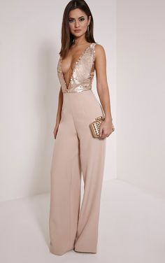 Darcey Rose Gold Sequin Plunge Cross Back Jumpsuit - Jumpsuits & Playsuits - PrettylittleThing   PrettyLittleThing.com