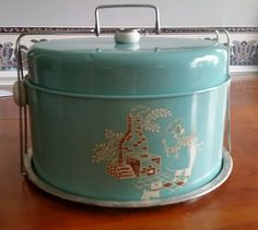 Vintage Blue Teal Bakers Man  Cake Carrier Nostalgic Tin Caddy WI Chief designs