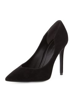 Abi Pointed-Toe Suede Pump, Black, Women's, Size: 11B/41EU - Kendall + Kylie