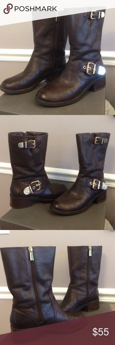 """VINCE CAMUTO LEATHER BOOTS.  Molten. Silk cow. Broken in but not damaged. Gold hardware. Inside zippers. Soft leather.  6"""" boot shaft from top of foot. Heels 1 1/2"""" high. Very comfortable. Wore maybe 12 x. Vince Camuto Shoes Ankle Boots & Booties"""
