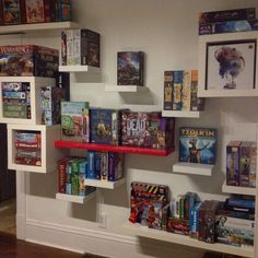 Decorating a Game Room Board Game Shelf, Board Game Cafe, Board Game Storage, Board Games, Board Game Organization, Game Room Decor, Room Setup, Game Rooms, Basement Games