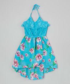 Dollhouse Turquoise Lace Halter Hi-Low Dress - Kids & Tween   zulily