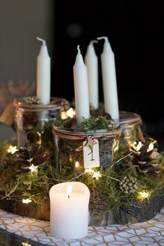 Mon centre de table avec des bougies pour l'Avent. Advent Wreath, Xmas, Christmas, Candles, Art Floral, Inspiration, Beautiful, Navidad, Advent Wreaths