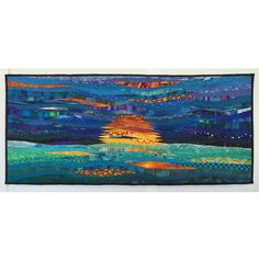 Abstract textile art. Quilted hanging. Ocean sunrise. by AnnBrauer