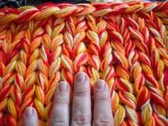Knitting with 10 threads and Rachel John giant knitting needles by Amareke